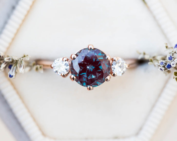 Round alexandrite and moissanite three stone engagement ring, made to order in 2-3 weeks