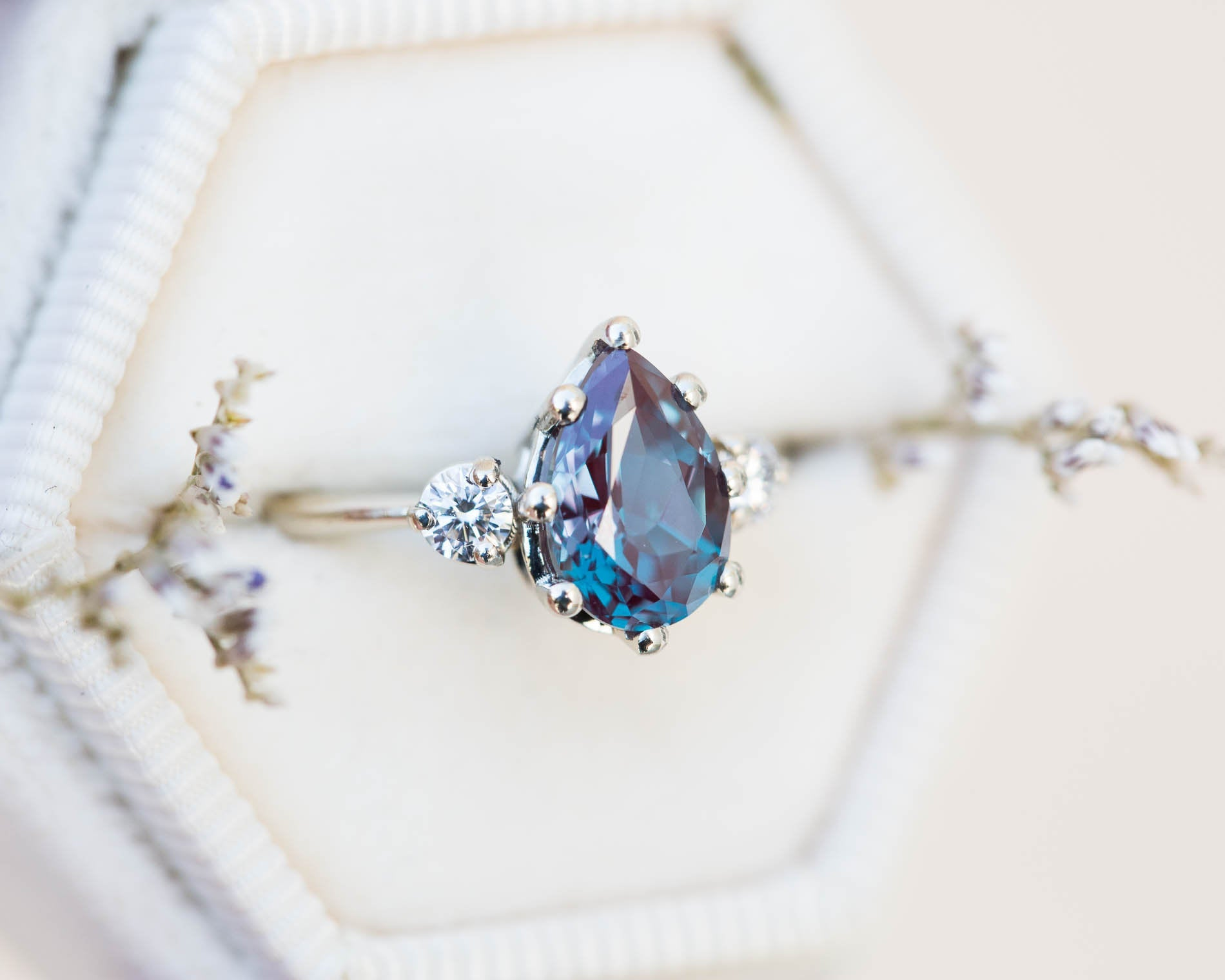 Alexandrite diamond three stone engagement ring, pear engagement ring,