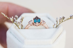 Pear alexandrite moonstone three stone 14k gold engagement ring,