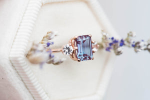 Alexandrite sapphire three stone engagement ring, emerald cut engagement ring,