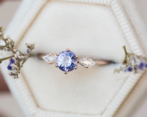Tanzanite moissanite engagement ring, round tanzanite engagement ring, 14k gold ring, three stone ring, unique engagement ring, color change