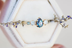 Alexandrite moonstone cluster five stone engagement ring,