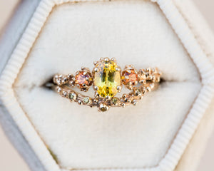 Yellow sapphire 14k gold barnacle engagement ring, sunset ring