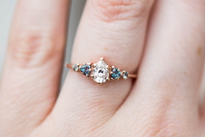Moissanite and alexandrite cluster five stone engagement ring, 14k gold sapphire ring, cluster engagement ring, unique engagement ring, oore