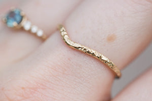 Dappled 14k gold wedding band, smooth wedding band, contour band, gold chevron wedding band, minimalist jewelry, hammered wedding band, oore