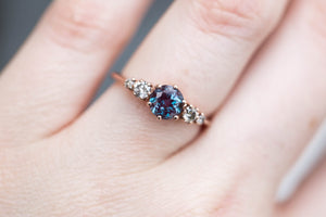 Alexandrite cluster engagement ring, salt pepper diamond ring,