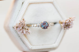 Chatham alexandrite cluster engagement ring, 5 stone diamond ring