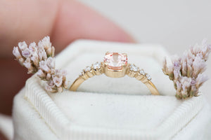 Peach sapphire round cluster engagement ring, 14k gold ring, sapphire ring, round engagement ring, unique engagement ring, peach ring