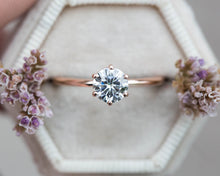 Load image into Gallery viewer, Moissanite 14k classic engagement ring, solitaire moissanite engagement ring, vintage inspired engagement ring, filigree engagement ring
