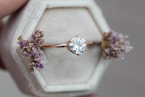 Moissanite 14k classic engagement ring, solitaire moissanite engagement ring, vintage inspired engagement ring, filigree engagement ring
