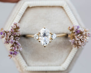 Elongated moissanite oval engagement ring, oval engagement ring, three stone ring, rose gold unique ring, princess ring, moissanite ring