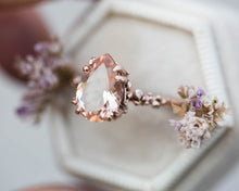 Load image into Gallery viewer, Pear morganite barnacle engagement ring, morganite solitaire engagement ring, unique engagement, ocean, nature engagement ring, morganite