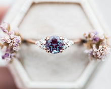 Load image into Gallery viewer, Chatham alexandrite round cluster engagement ring, made to order in 2-3 weeks