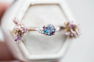 Chatham alexandrite round cluster engagement ring, made to order in 2-3 weeks