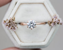 Load image into Gallery viewer, Moissanite 14k gold classic engagement ring, solitaire moissanite engagement ring, vintage inspired twig engagement ring, twig nature ring