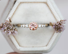 Load image into Gallery viewer, Peach sapphire round cluster engagement ring, 14k gold ring, sapphire ring, round engagement ring, unique engagement ring, peach ring