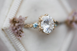 Moissanite 14k gold barnacle engagement ring, oval engagement ring, teal sapphire ring, twig ring, unique engagement ring, mermaid ring