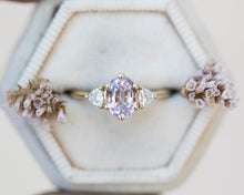 Load image into Gallery viewer, Pastel pink sapphire oval engagement ring, three stone ring, sapphire engagement ring, pastel sapphire, trillion, unique engagement ring