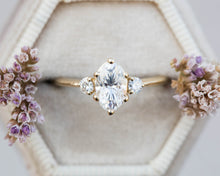 Load image into Gallery viewer, Elongated moissanite oval engagement ring, oval engagement ring, three stone ring, rose gold unique ring, princess ring, moissanite ring