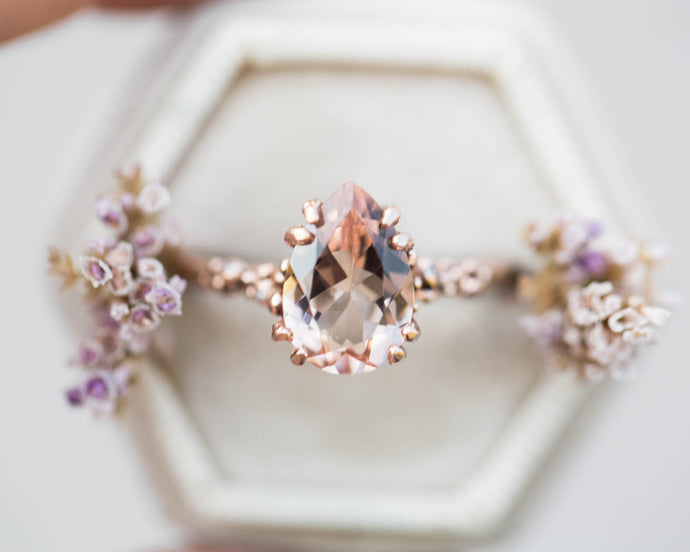 Pear morganite barnacle engagement ring, morganite solitaire engagement ring, unique engagement, ocean, nature engagement ring, morganite