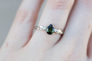 Pear tourmaline engagement ring, leaf engagement ring, pear leaf ring, nature engagement ring, 14k gold ring, three stone ring, anniversary