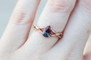 Pear alexandrite solitaire twisted leaf band engagement ring, promise ring, alexandrite ring, nature ring, unique engagement, leaf ring