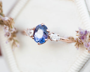 Blue purple galaxy sapphire engagement ring, one of a kind