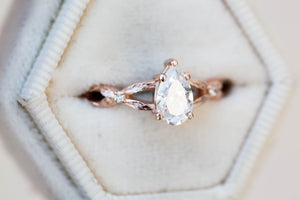 Pear moissanite solitaire twisted leaf band engagement ring, promise ring, diamond alternative, nature ring, unique engagement, leaf ring