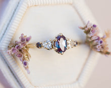 Load image into Gallery viewer, Oval alexandrite five stone cluster ring, made to order in 2-3 weeks