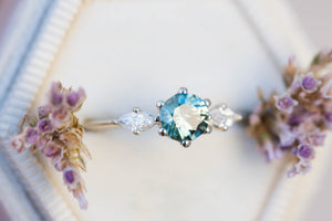 Teal sapphire round engagement ring, sapphire ring, 14k gold ring, three stone ring, unique engagement ring, marquise ring, delicate ring
