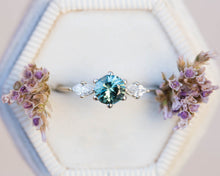 Load image into Gallery viewer, Teal sapphire round engagement ring, sapphire ring, 14k gold ring, three stone ring, unique engagement ring, marquise ring, delicate ring