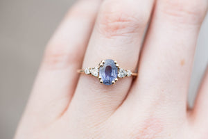 Oval purple blue cluster sapphire engagement ring, right hand ring, sapphire ring, cluster ring, unique engagement ring, fine jewelry, umba