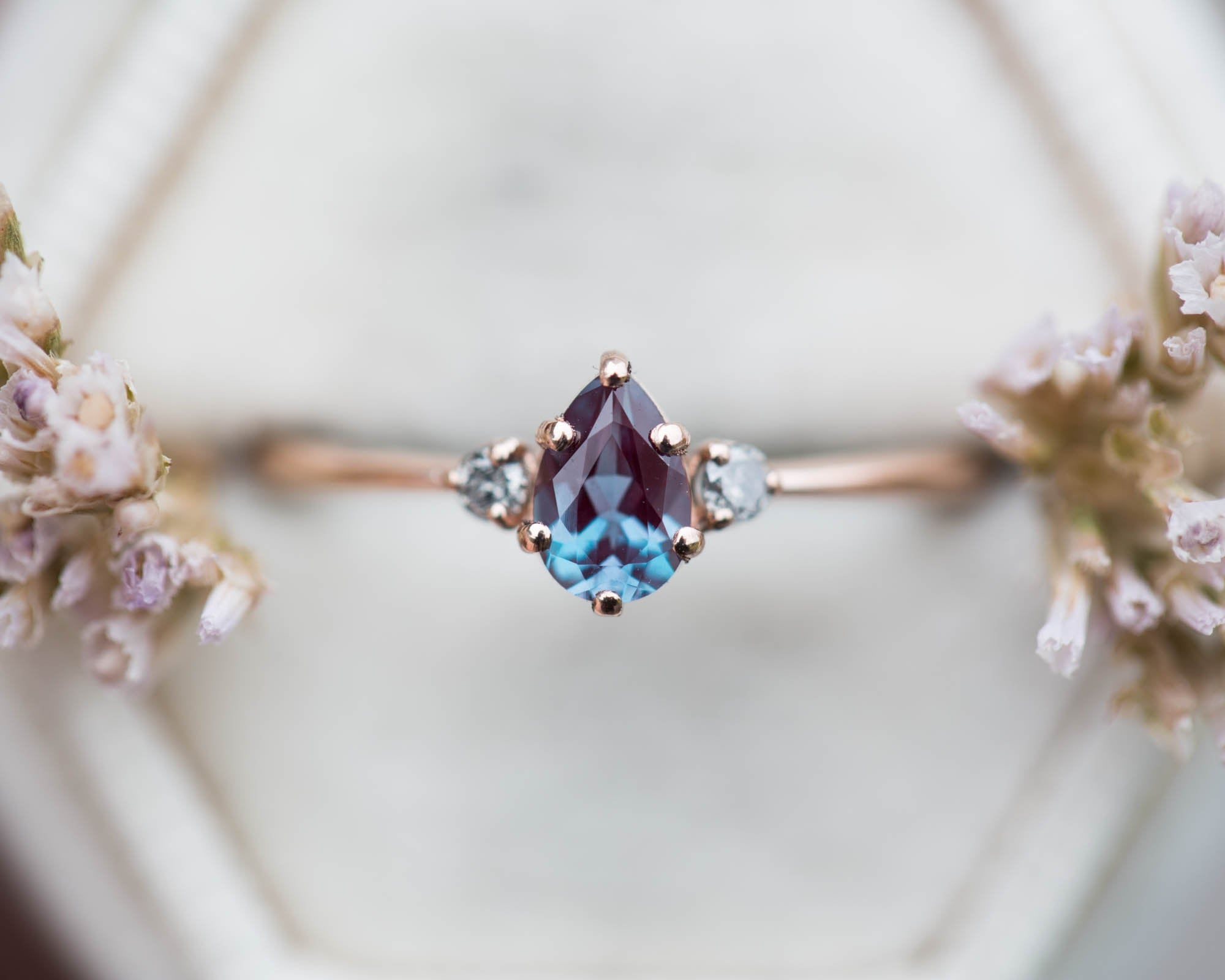 Pear chatham alexandrite engagement, salt pepper diamond ring, diamond ring, petite engagement ring, delicate ring, 14k gold fine jewelry