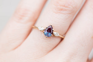 Pear alexandrite marquise three stone engagement ring, made to order in 2-3 weeks