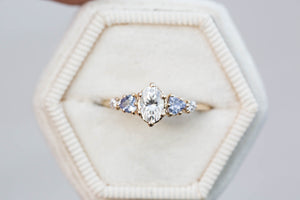 Oval moissanite cluster five stone engagement ring, tanzanite ring, cluster engagement ring, alternative engagement, fairytale