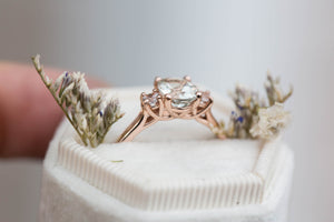 Oval prasiolite engagement ring, three stone ring, unique ring, green amethyst ring, pastel engagement ring, 14k gold ring, fine jewelry