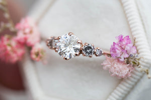Moissanite cluster engagement ring, salt pepper diamond ring, five stone ring, round engagement ring, unique engagement, oore, cluster ring