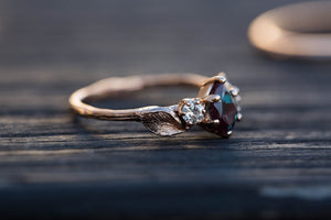 Pear alexandrite leaf engagement ring, twig engagement ring, nature twig ring, alternative engagement ring, pear ring, nature engagement