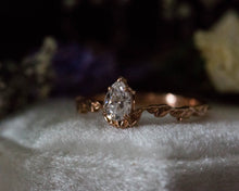 Load image into Gallery viewer, Pear moissanite leaf engagement ring, unique engagement ring, moissanite ring, pear ring, diamond alternative, leaf ring, nature jewelry