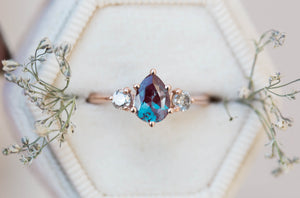 Alexandrite salt pepper diamond three stone engagement ring