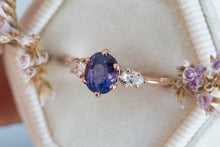 Load image into Gallery viewer, Blue purple galaxy sapphire engagement ring, one of a kind
