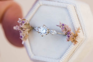 Moissanite round engagement ring, round ring, 14k gold ring, three stone ring, unique engagement ring, marquise ring, delicate ring, oore