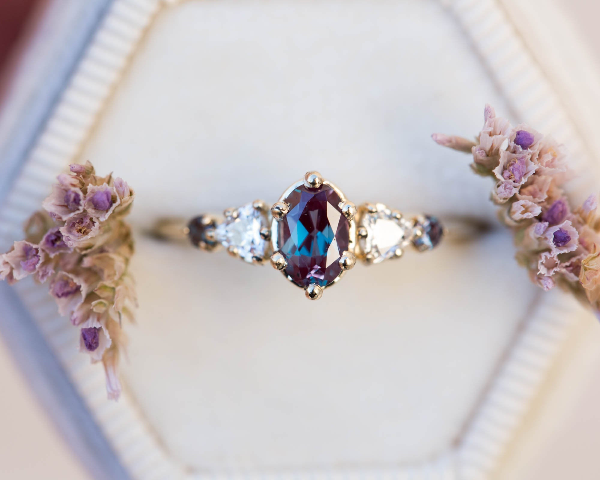 Oval alexandrite five stone cluster ring, made to order in 2-3 weeks