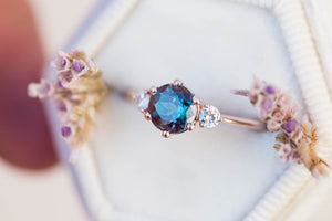 Alexandrite moissanite three stone engagement ring, round ring, three stone ring, 14k gold, alexandrite ring, rose gold, unique engagement