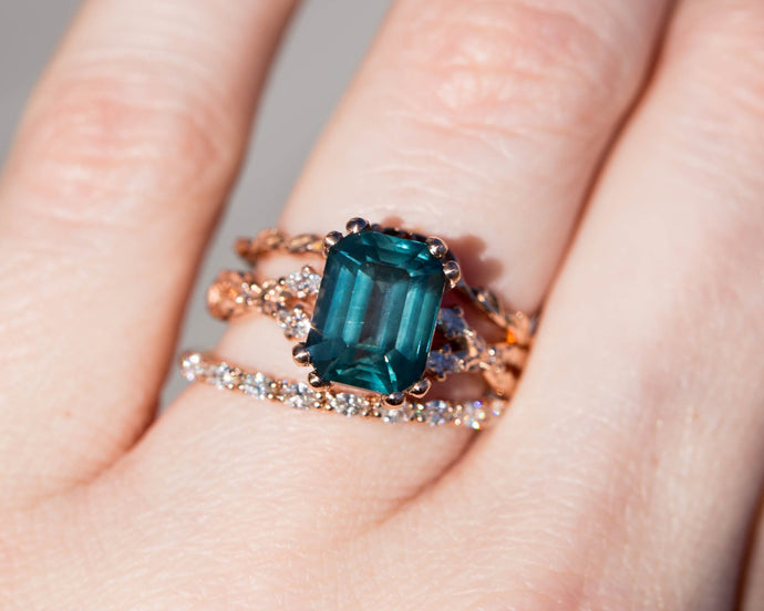 Emerald cut teal sapphire ring, diamond leaf ring, leaf engagement ring, teal sapphire ring, natural sapphire engagement ring, twist band