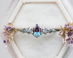 Alexandrite grey diamond cluster ring, five stone ring