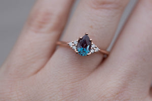 Alexandrite pear cluster diamond engagement ring