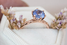 Load image into Gallery viewer, Round ceylon sapphire engagement ring, round blue sapphire, leaf engagement ring, nature ring, unique engagement, push present, sapphire