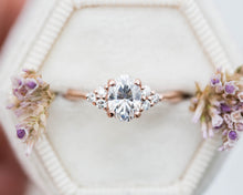 Load image into Gallery viewer, Oval moissanite cluster engagement ring, cluster ring, moissanite ring, oval ring, unique engagement, princess ring, oore, 14k gold ring