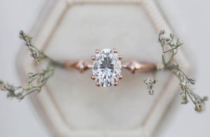 Oval moissanite solitaire engagement ring, art deco ring, vintage inspired ring, gothic engagement ring, detailed ring, unique engagement